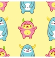 Seamless pattern with cute yeti vector image vector image