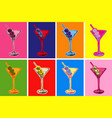 set colored martini cocktails with olives vector image vector image
