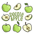 set doodle green apples with stem and leaf vector image vector image