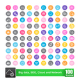 Set of 100 icon with color background big data seo vector image vector image
