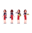 set of young secretary in standing pose rear vector image vector image