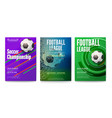 set tournament posters football or soccer vector image vector image
