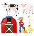 set with farmer and farm animals vector image vector image