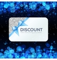 Silver gift card with blue ribbon and bow vector image