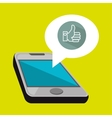 smartphone and hand isolated icon design vector image vector image