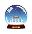 snow globe city greece acropolis in snow globe vector image