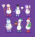 snowman cute cartoon winter christmas vector image vector image