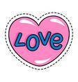 sticker or patch in shape heart isolated icon vector image