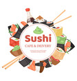 sushi cafe and delivery banner poster vector image vector image