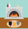 three kittens on carpet rug looking to fireplace vector image vector image