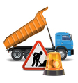 Tipper with Sign and Beacon vector image vector image