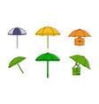 umbrella icon set color outline style vector image vector image