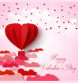 valentines day background with pink and red folded vector image