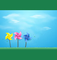 windmills blowing in wind on blue sky paper vector image