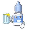with juice cartoon eye drops on drug rack vector image