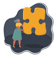 woman hold big oversized jigsaw puzzle piece vector image vector image