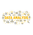 words data analysis surrounded by icons vector image vector image