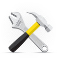 wrench and hammer repair icon vector image