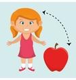 girl cartoon fruit apple red vector image