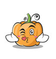 kissing pumpkin character cartoon style vector image