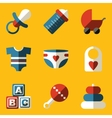 Flat icon set Baby Children Family vector image