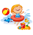Funny little girl swims in a sea in an red life vector image