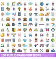 100 public transport icons set cartoon style vector image vector image