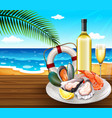 a seafood set on summer beach background vector image vector image
