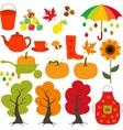 Autumn set leaves trees mushrooms nuts vector image vector image
