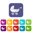 baby carriage icons set flat vector image vector image