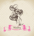 Balloons in heart form hand drawn vector image vector image