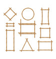 bamboo frame wooden brown stick square vector image vector image