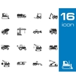 black construction transport icons set vector image vector image