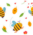 bright pattern with bees beehive and elements vector image vector image
