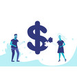 business couple making puzzle dollar icon vector image vector image