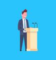 business man speaker sanding at tribune character vector image