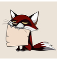 cartoon fox holding a blank sign in its mouth vector image vector image
