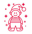 christmas elf in striped costume and snowflakes vector image