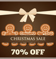 christmas sale poster with gingerbread man vector image vector image
