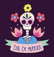 day dead skeleton flowers culture vector image vector image