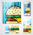 Design of branded products from burger to the vector image vector image