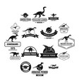 dinosaur logo icons set simple style vector image vector image