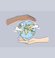 environment saving traveling protecting earth vector image