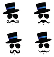 face with mustache with blue hat color vector image vector image
