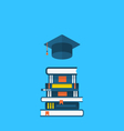 Flat icons of graduation cap and heap textbooks vector image vector image
