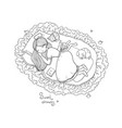 girl cats and dog sleep in bed good night vector image vector image