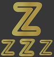 Golden z letter logo design set vector image vector image