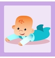 Happy baby is lying on his stomach trying to crawl vector image vector image