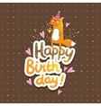 Happy Birthday card with hipster fox vector image vector image
