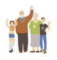 happy different generation family with older vector image